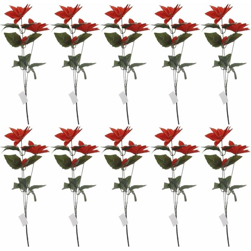 10x Rode Kerstster bloem 66 cm