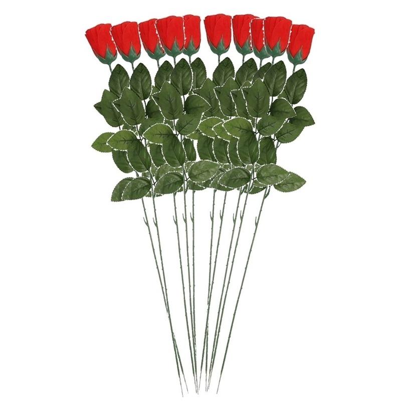 10x Rode Rosa/roos kunstbloem 60 cm