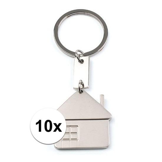 10x Sleutelhangers met huisje 3,5 cm