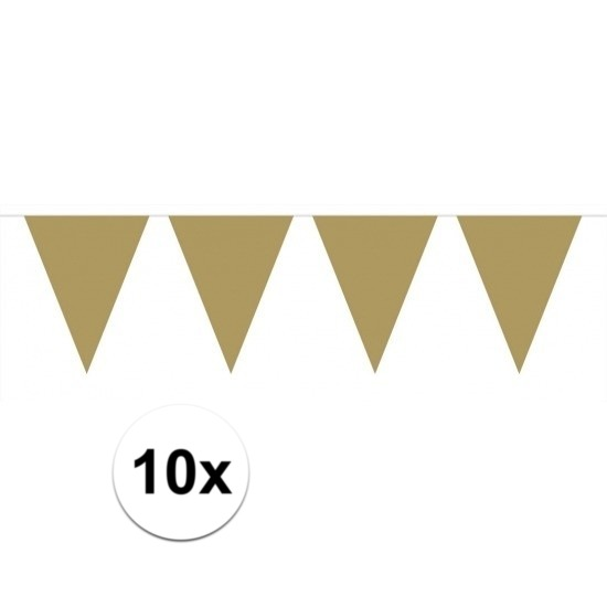 10x stuks vlaggenlijnen XL goud 6 meter