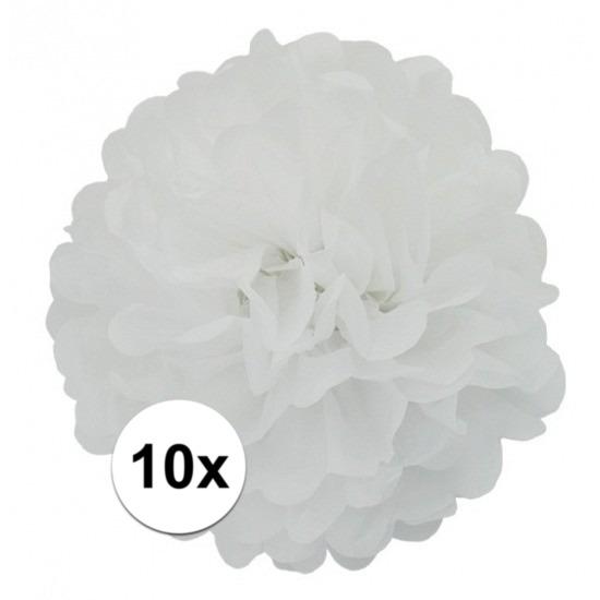 10x stuks Witte decoratie pompom 25 cm