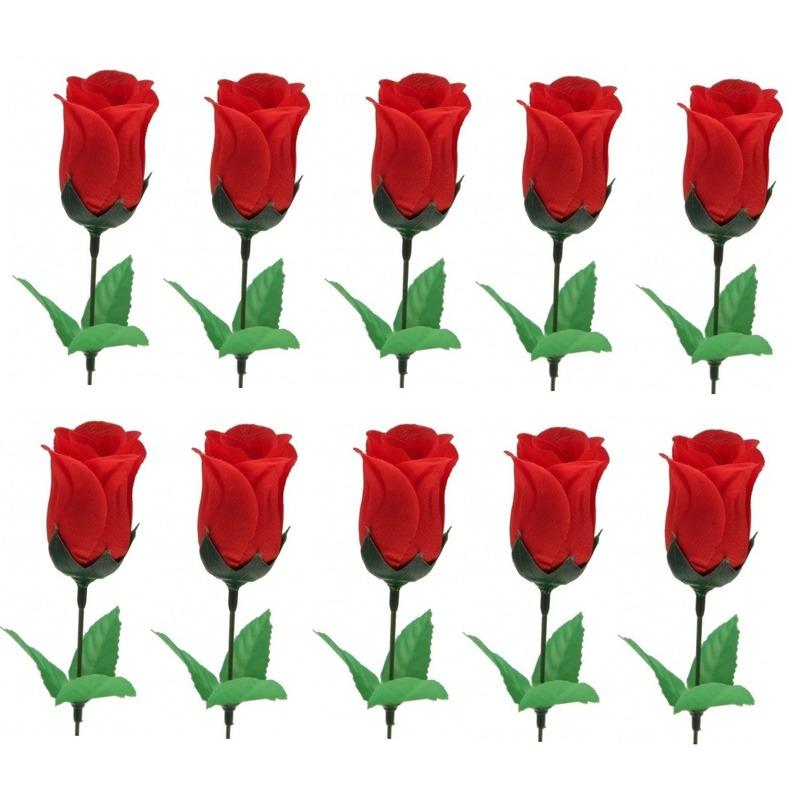 10x Voordelige rode roos kunstbloemen 28 cm