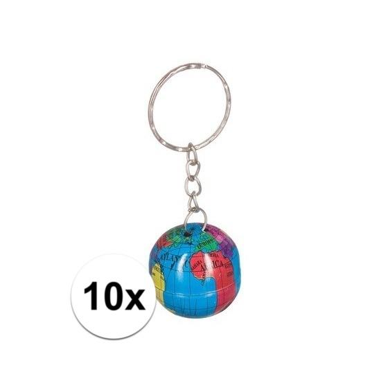 10x Wereldbollen sleutelhangers blik