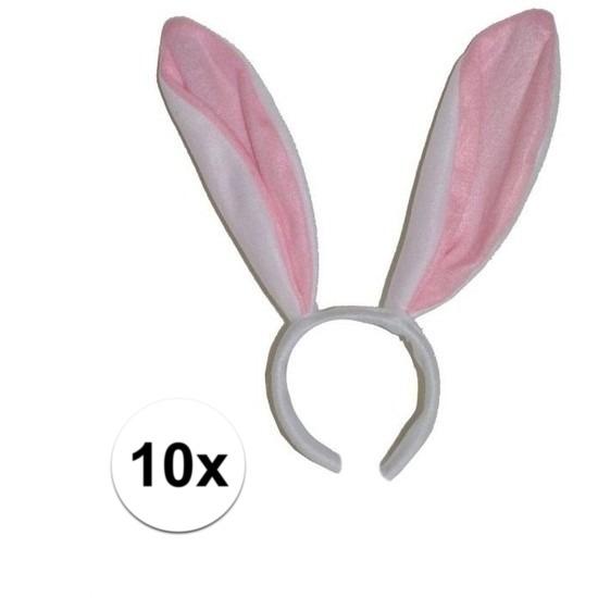 10x Witte konijn - haas oren op diadeem voor volwassenen