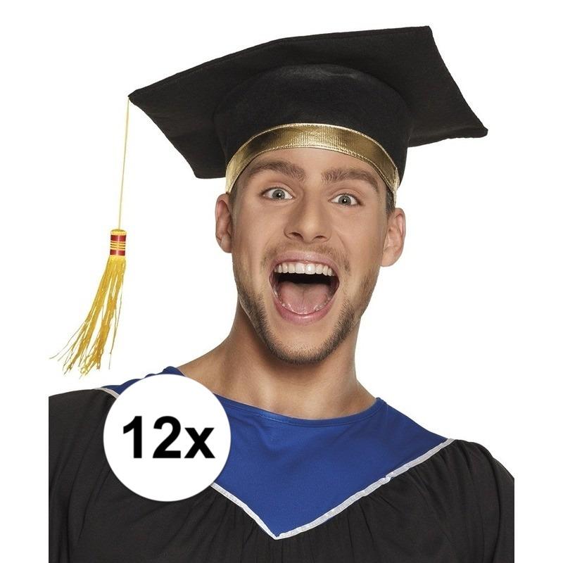 12x Afstudeerhoedje - geslaagd hoedje voor volwassenen
