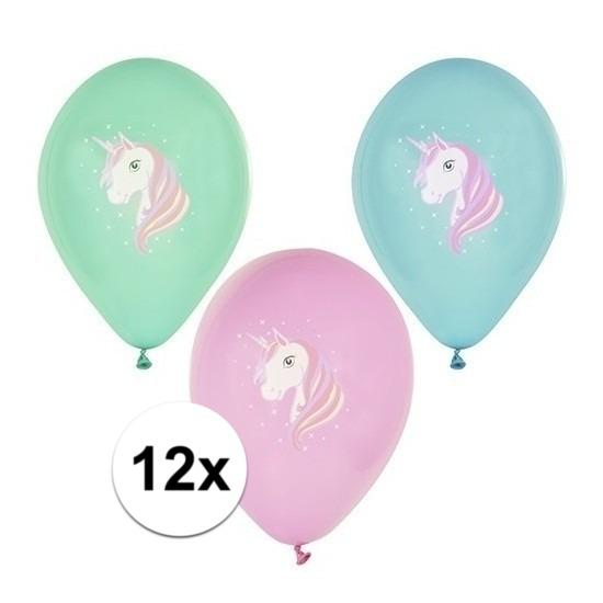 12x Eenhoorn thema print ballonnen 29 cm