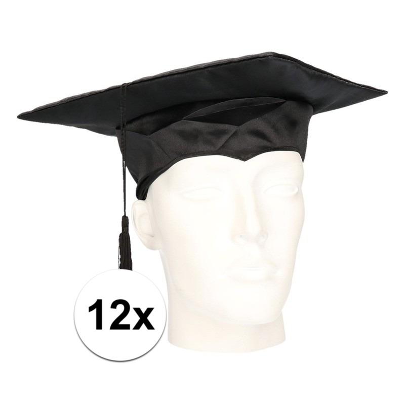12x geslaagd hoedje - afstudeer baret voor volwassenen