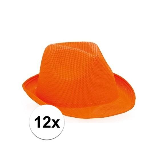 12x Oranje trilby hoedjes voor volwassenen