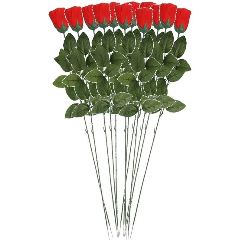12x Rode Rosa/roos kunstbloem 60 cm