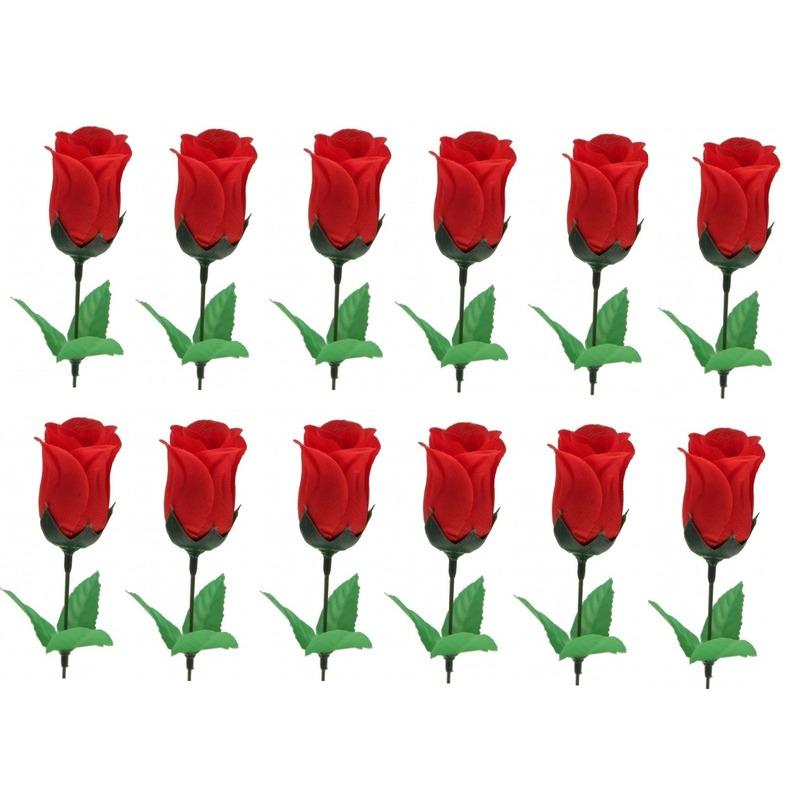 12x Voordelige rode roos kunstbloemen 28 cm