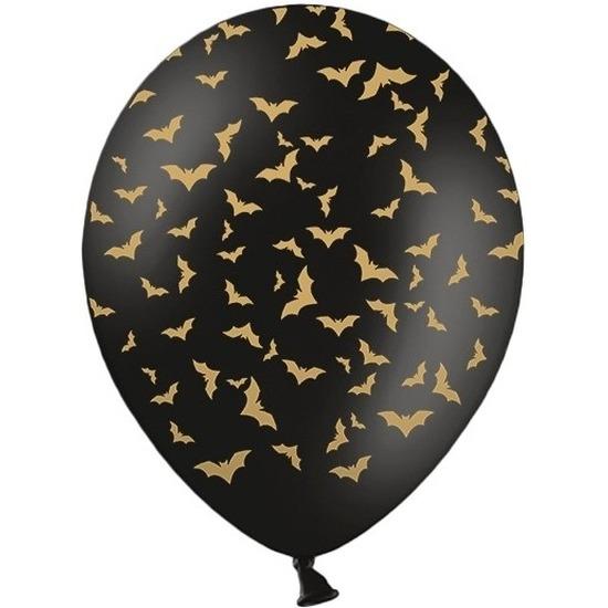 12x Zwart/gouden Halloween ballonnen 30 cm met vleermuizen print