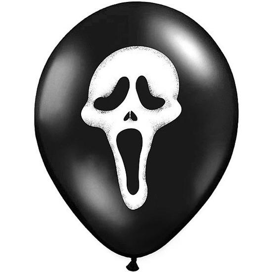 12x Zwarte ballonnen Scream doodshoofd Halloween 30 cm