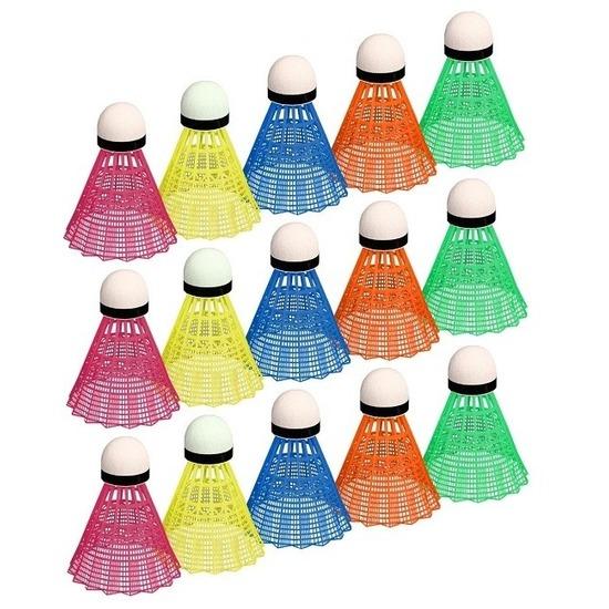15x Gekleurde badminton shuttles