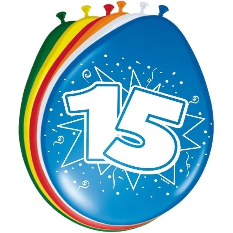 16x stuks Ballonnen versiering 15 jaar