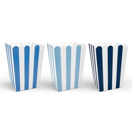 18x gestreepte popcorn bakjes blauw