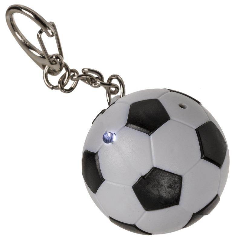 1x Voetbal sleutelhanger met licht en geluid 3,5 cm