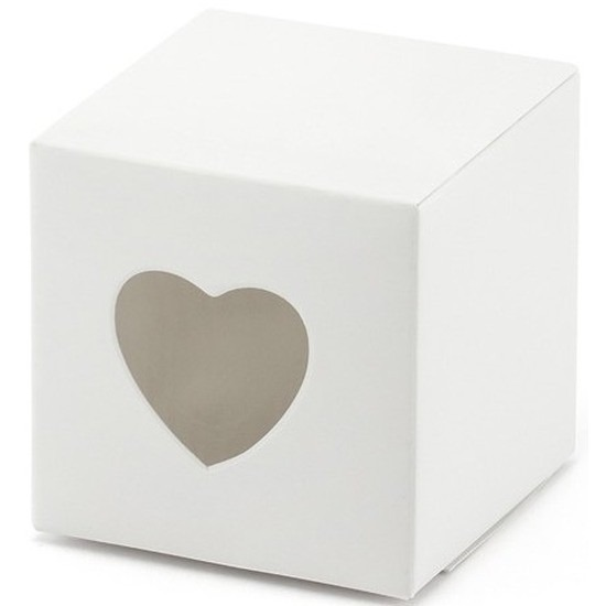 2x verpakking met 10 witte cadeaudoosjes met een hartjes uitsnede. u kunt een klein presentje en/of snoepgoed ...