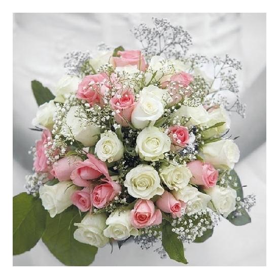 20x Bruiloft/huwelijk thema servetten bruidsboeket 33 x 33 cm