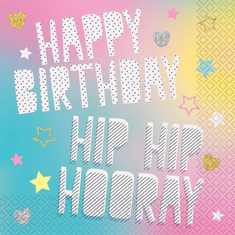 20x Happy Birthday/eenhoorn thema servetten 33 x 33 cm