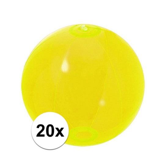 20x Opblaasbare strandbal neon geel 30 cm