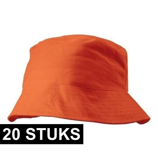 20x Oranje vissershoedjes/zonnehoedjes voor volwassenen