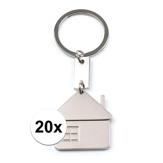 20x Sleutelhangers met huisje 3,5 cm
