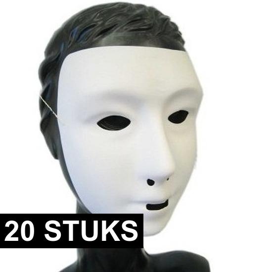 20x Wit grimeer masker met kalklaag
