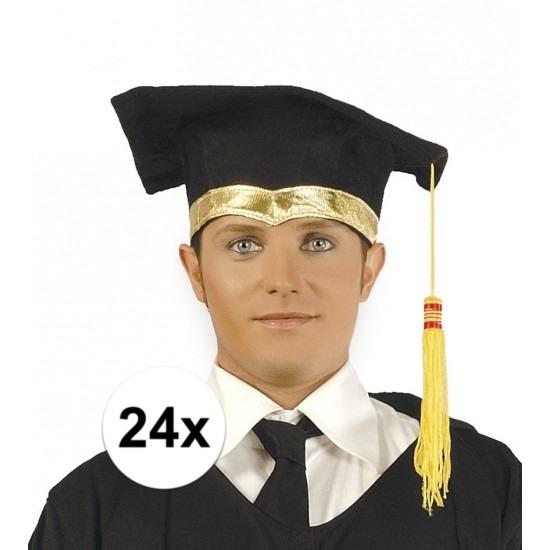 24x Luxe afstudeerhoedje - geslaagd hoedje met gouden details