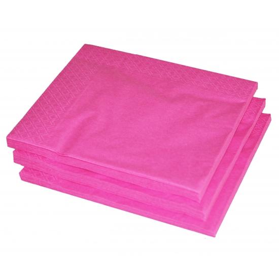 25 fuchsia roze servetten 33 x 33 cm
