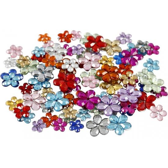 252x Gekleurde plak diamantjes bloem