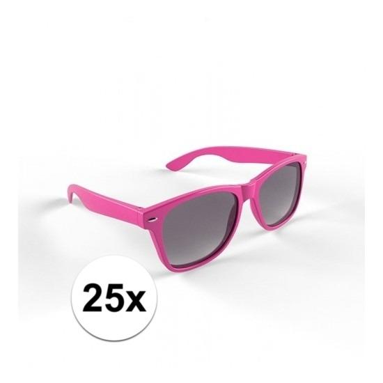 25x Hippe roze zonnebrillen voor volwassenen