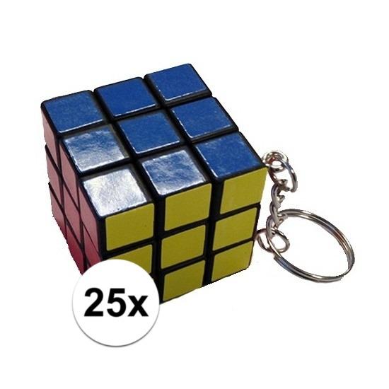 25x stuks sleutelhangers met kubus spelletjes