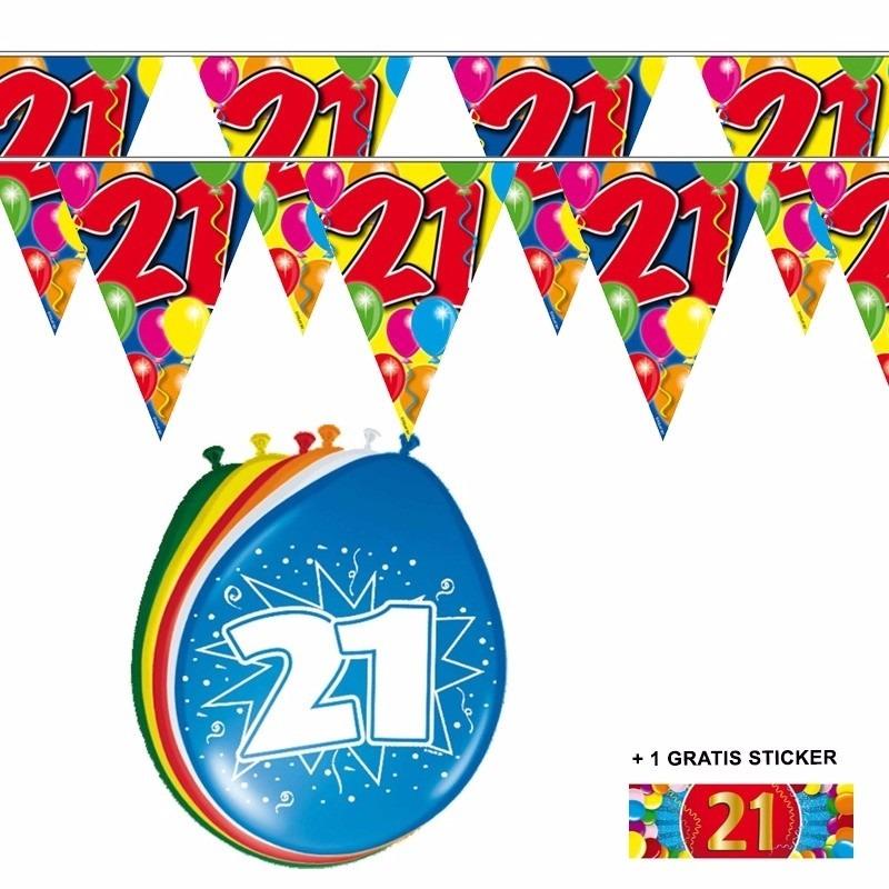 2x 21 jaar vlaggenlijn + ballonnen