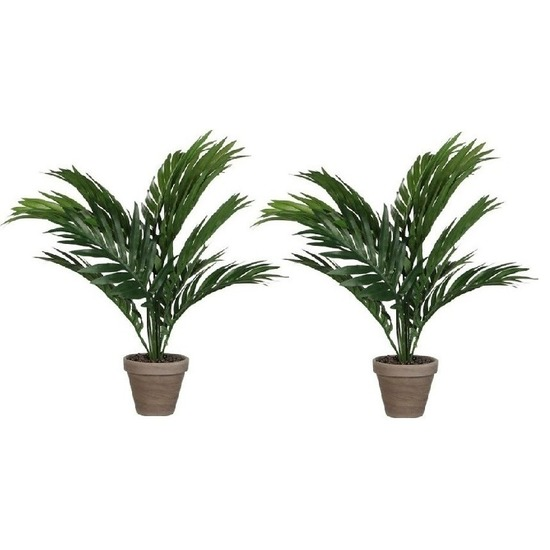 2x Areca palm kunstplanten groen 40 cm in pot
