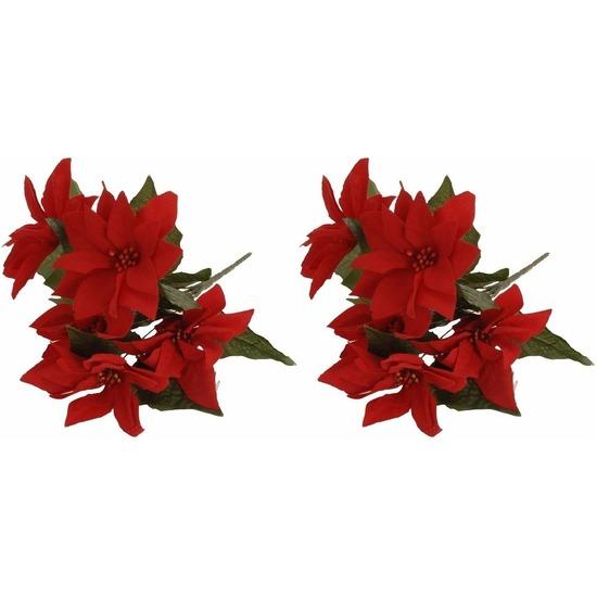 2x Bosje Kerstster bloemen 30 cm