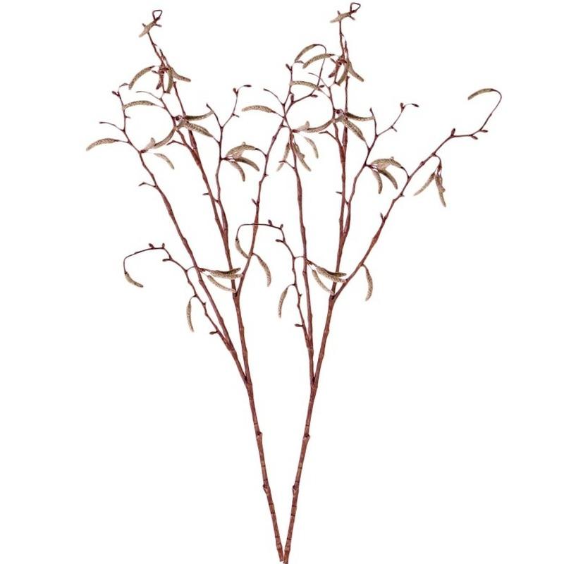 2x Bruine Betula pendula/berkenkatjes kunsttakken 66 cm