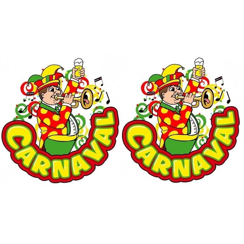 2x Carnaval raamsticker muzikant met trompet 35 x 40 cm