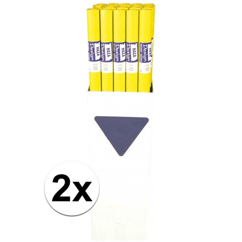 2x Gele papieren tafelkleden op rol 118 x 800 cm