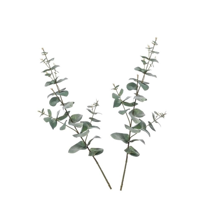 2x Groene Eucalyptus kunsttakken kunstplanten 68 cm