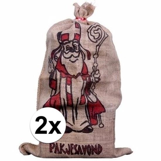 2x Jute zakken voor Sinterklaas 60 x 102 cm