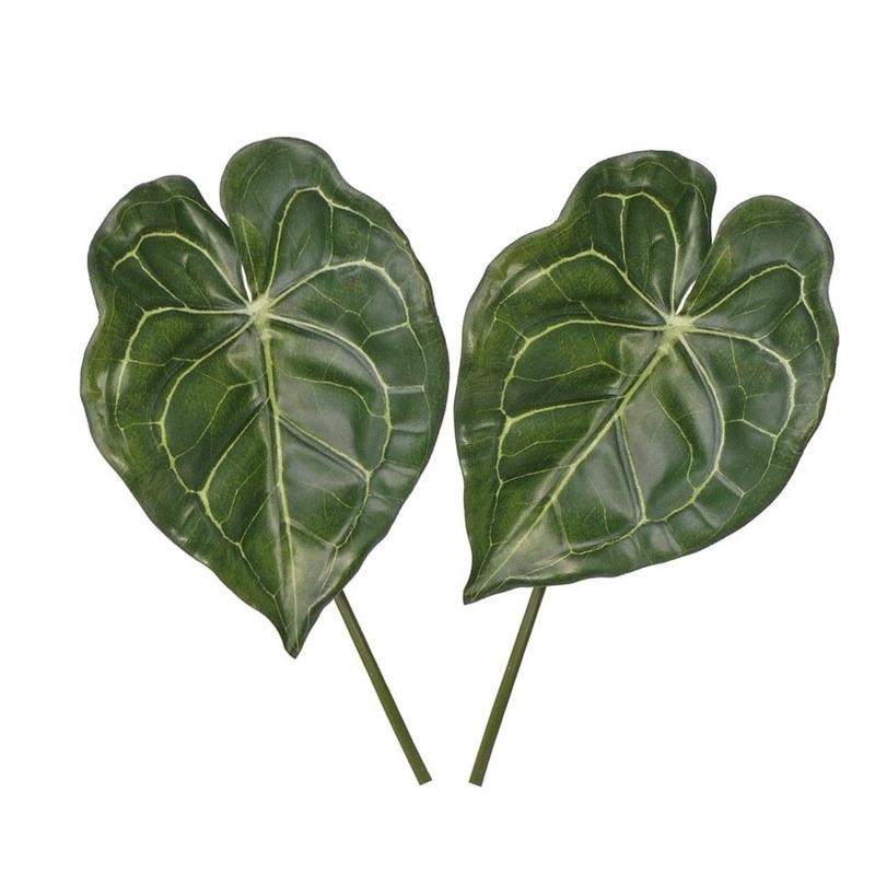2x Kunstplanten Anthurium bladgroen takken 67 cm