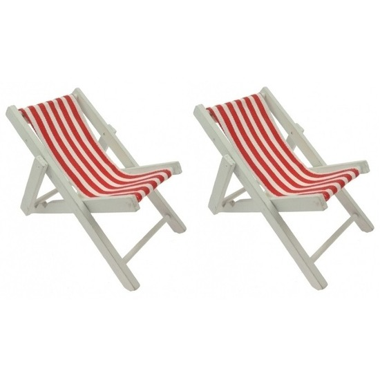 2x Maritieme decoratie strandstoelen rood 13 cm