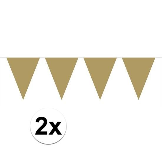 2x Mini vlaggenlijn - slinger goud 300 cm