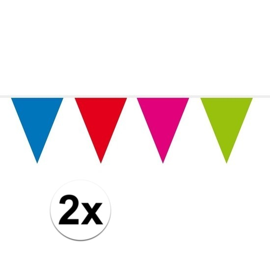 2x Mini vlaggenlijn - slinger multi colour 300 cm
