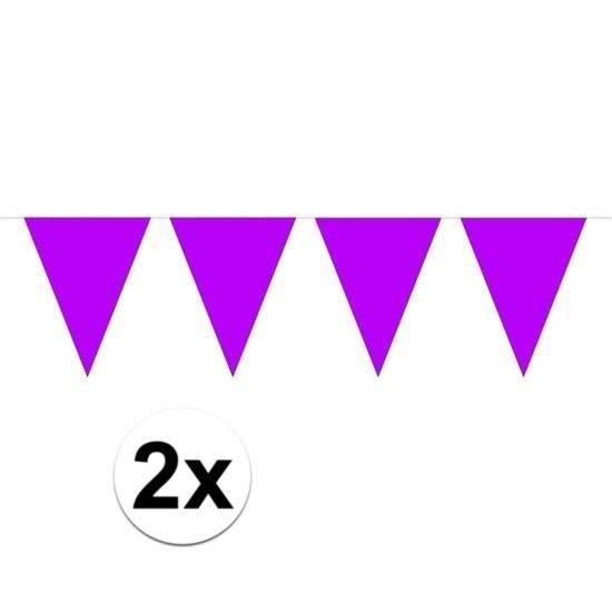 2x Mini vlaggenlijn - slinger paars 300 cm