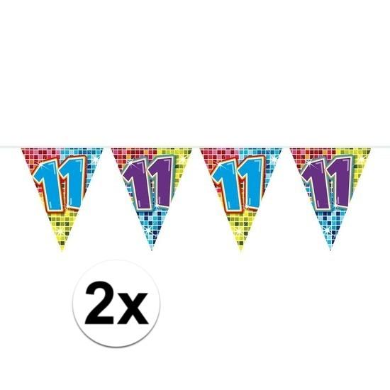 2x Mini vlaggenlijn - slinger verjaardag versiering 11 jaar