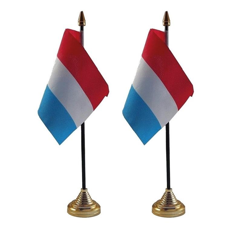 2x Nederland tafelvlaggetjes 10 x 15 cm met standaard