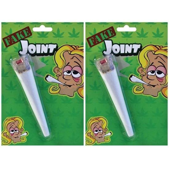 2x Nep marihuana joint 15 cm Hippie/Sixties verkleed accessoires