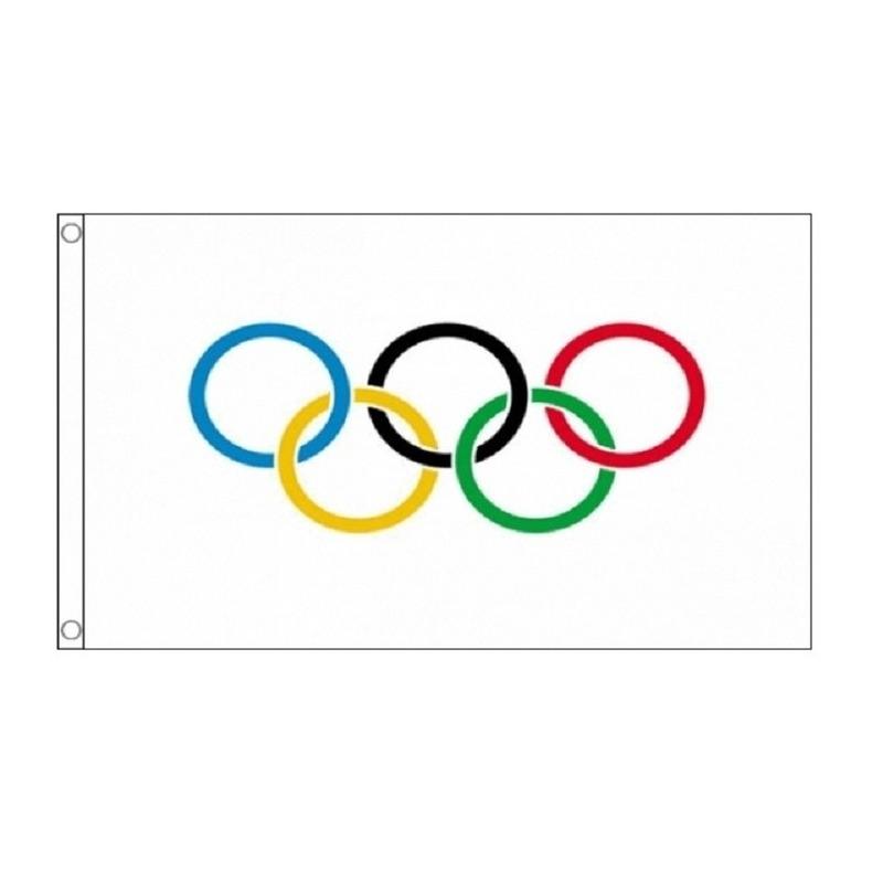 2x Olympische vlaggen 90 x 150 cm