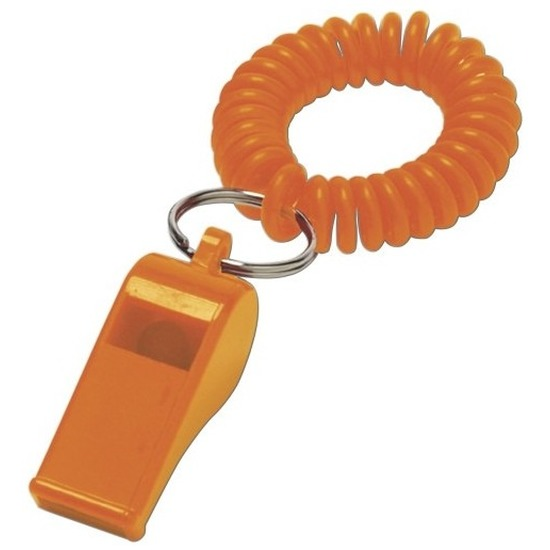 2x Oranje fluitjes aan polsbandje